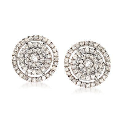 .96 ct. t.w. Diamond Stud Earrings in Sterling Silver, , default