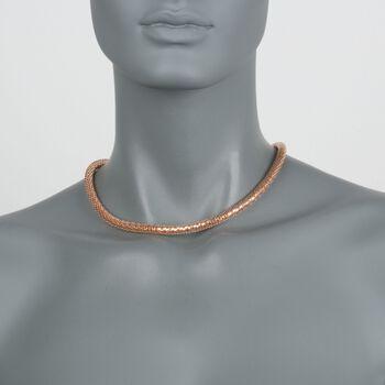 """C. 2000 Vintage 18kt Rose Gold Mesh Tube Necklace. 18"""", , default"""
