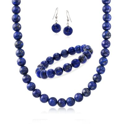 10-10.5mm Blue Lapis Bead Jewelry Set: Necklace, Bracelet and Drop Earrings in Sterling, , default
