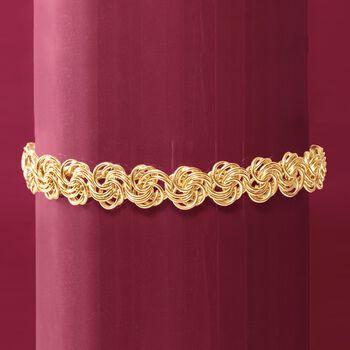 18kt Yellow Gold Rosette Link Bracelet, , default