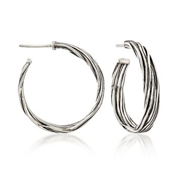 "Sterling Silver Artisanal Hoop Earrings. 1"", , default"
