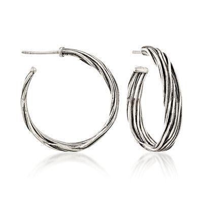 Sterling Silver Artisanal Hoop Earrings, , default