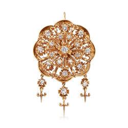 C. 1960 Vintage 1.55 ct. t.w. Diamond Pin Pendant in 14kt Yellow Gold     , , default