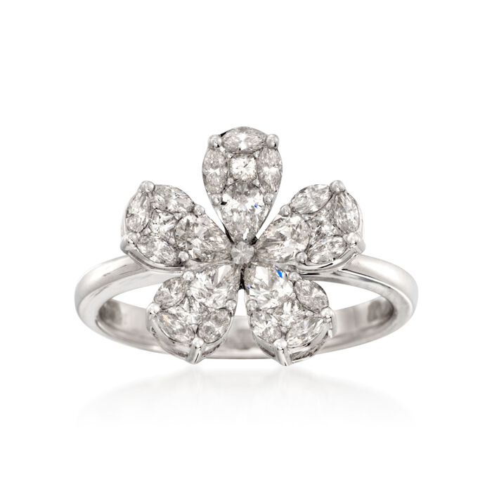 Simon G. 1.10 ct. t.w. Diamond Floral Ring in 18kt White Gold