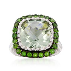 6.50 Carat Green Amethyst and .90 ct. t.w. Green Chrome Diopside Ring in Sterling Silver, , default