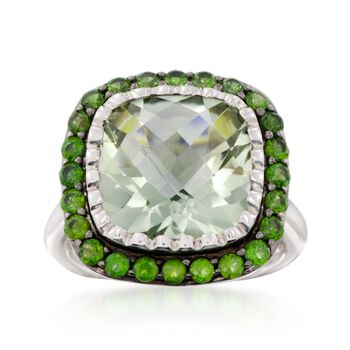 6.50 Carat Green Amethyst and .90 ct. t.w. Chrome Diopside Ring in Sterling Silver, , default