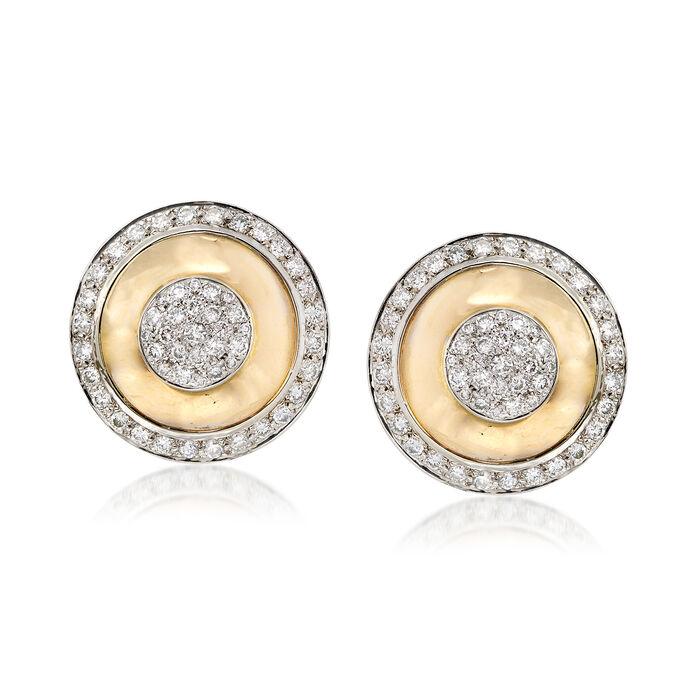 C. 1980 Vintage 4.00 ct. t.w. Diamond Shield Clip-On Earrings in 14kt Yellow Gold, , default