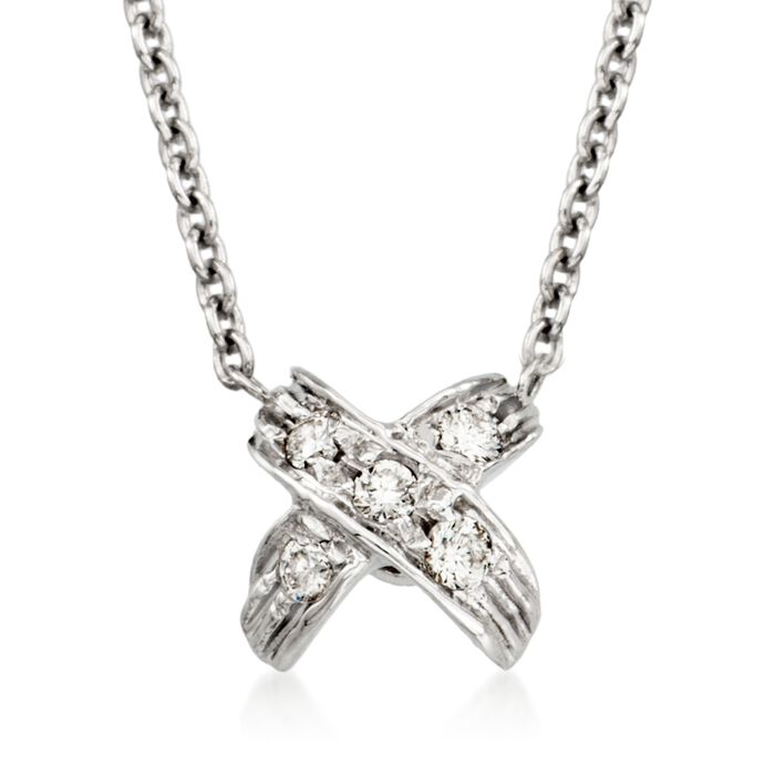 """Roberto Coin """"Tiny Treasures"""" Pave Diamond """"X"""" Pendant Necklace in 18kt White Gold"""