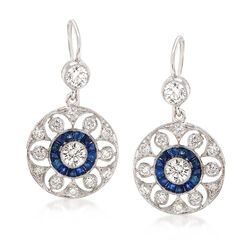 C. 1990 Vintage 1.25 ct. t.w. Diamond and .60 ct. t.w. Sapphire Floral Drop Earrings in 18kt White Gold, , default