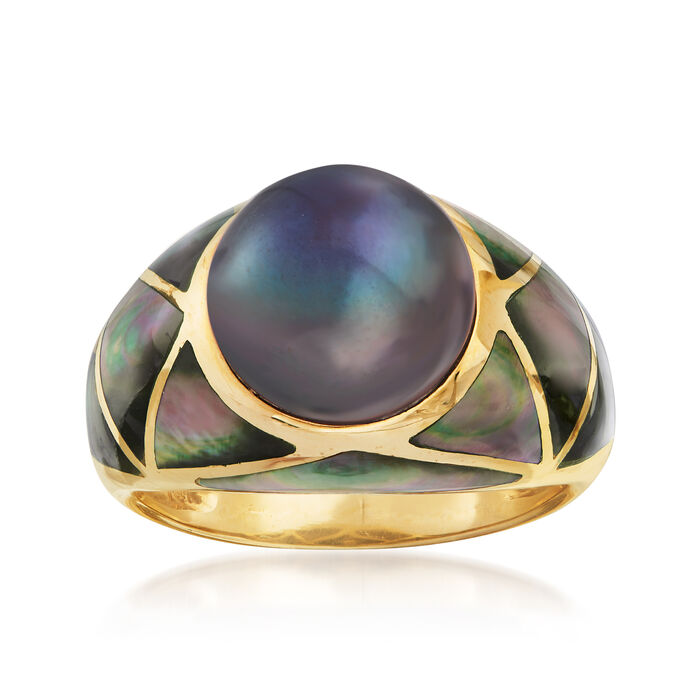 C. 1980 Vintage 11mm Gray Cultured Pearl and Black Mother-Of-Pearl Ring in 14kt Yellow Gold. Size 8