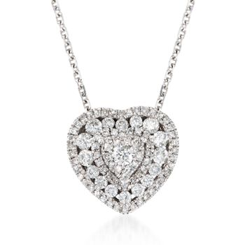 ".50 ct. t.w. Diamond Heart Pendant Necklace in 14kt White Gold. 18"", , default"