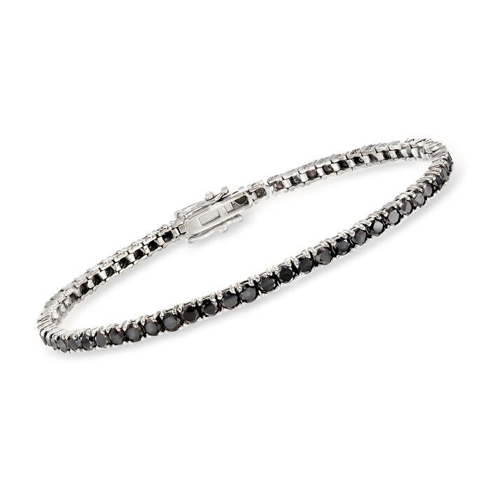 5.00 ct. t.w. Black Diamond Tennis Bracelet in 14kt White Gold, , default