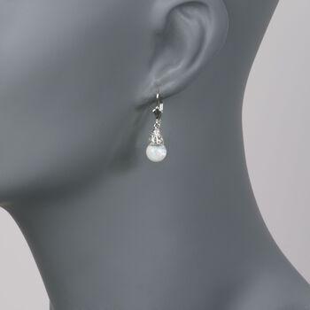 Floating Opal Drop Earrings in 14kt White Gold, , default