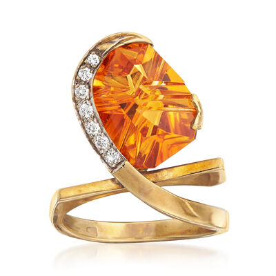 C. 1990 Vintage 3.00 Carat Citrine and .10 ct. t.w. Diamond Geometric Ring in 18kt Yellow Gold, , default