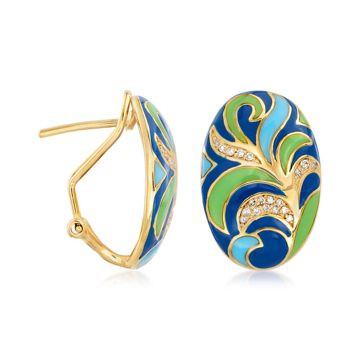 .12 ct. t.w. Diamond and Multicolored Enamel Earrings in 18kt Gold Over Sterling