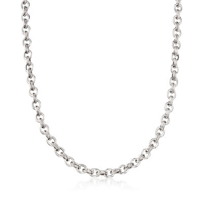 14kt White Gold Oval-Link Necklace, , default