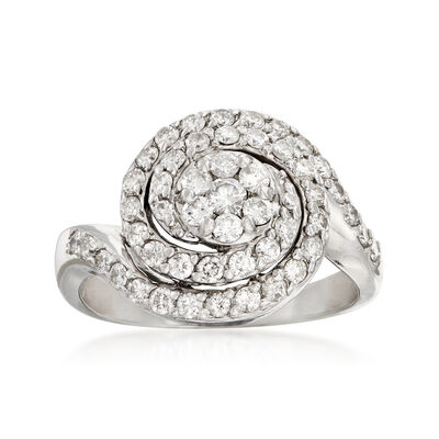 C. 1970 Vintage 1.00 ct. t.w. Diamond Swirl Ring in 14kt White Gold, , default