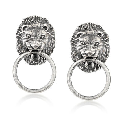Italian Sterling Silver Lion Head Doorknocker Earrings, , default