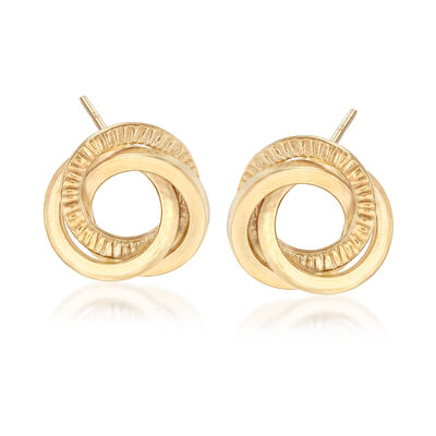 Italian 18kt Yellow Gold Textured and Polished Interlocking Circle Earrings, , default