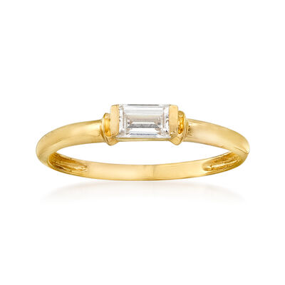 .30 Carat Baguette CZ Solitaire Ring in 14kt Yellow Gold