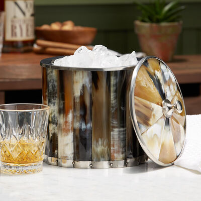 Genuine Horn Ice Bucket with Lid, , default