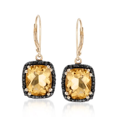 11.00 ct. t.w. Citrine and Black Spinel Earrings in 14kt Gold Over Sterling
