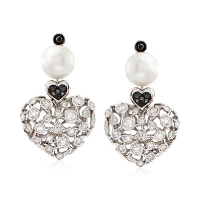 C. 2000 Vintage 9.5mm Cultured Pearl and 2.50 ct. t.w. Black and White Diamond Heart Drop Earrings in 18kt White Gold, , default