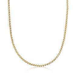 "C. 1990 Vintage 2.4mm 14kt Yellow Gold Link Chain Necklace. 14.75"", , default"