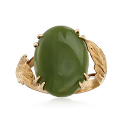 C. 1940 Vintage Green Nephrite Jade Ring in 14kt Yellow Gold, , default