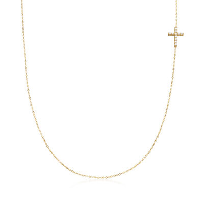 Italian .12 ct. t.w. CZ Sideways Cross Station Necklace in 14kt Yellow Gold