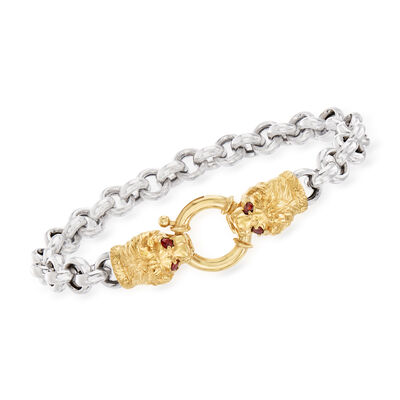 .20 ct. t.w. Garnet Double Lion Head Bracelet in Two-Tone Sterling Silver