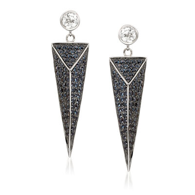 4.55 ct. t.w. Black Spinel and 1.20 ct. t.w. White Topaz Geometric Earrings in Sterling Silver, , default