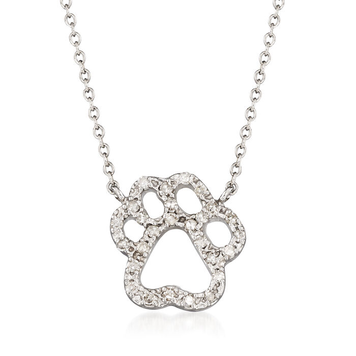 """.23 ct. t.w. Diamond Pawprint Necklace in 14kt White Gold. 18"""", , default"""