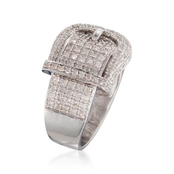.70 ct. t.w. Diamond Buckle Ring in Sterling Silver, , default