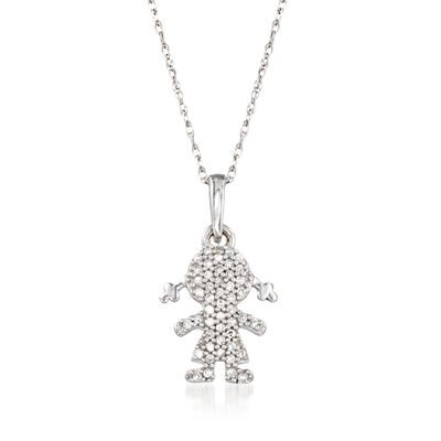 Diamond-Accented Girl Silhouette Pendant Necklace in 14kt White Gold, , default