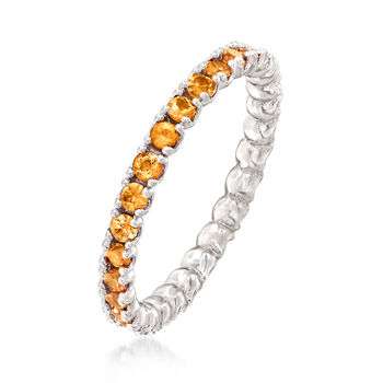 .97 ct. t.w. Orange Sapphire Stackable Eternity Band in Sterling Silver, , default
