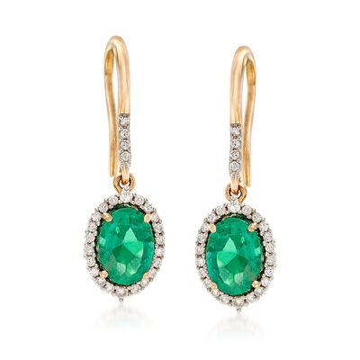 1.80 ct. t.w. Emerald and .21 ct. t.w. Diamond Earrings in 14kt Yellow Gold, , default