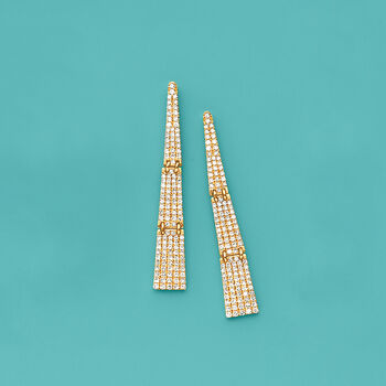 .69 ct. t.w. Pave Diamond Triangle Drop Earrings in 14kt Yellow Gold