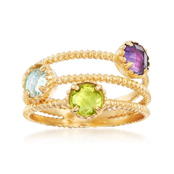 Italian 1.20 ct. t.w. Multi-Stone 3 Row Ring in 14kt Yellow Gold, , default