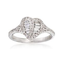 Gregg Ruth .63 ct. t.w. Diamond Heart Ring in 18kt White Gold, , default