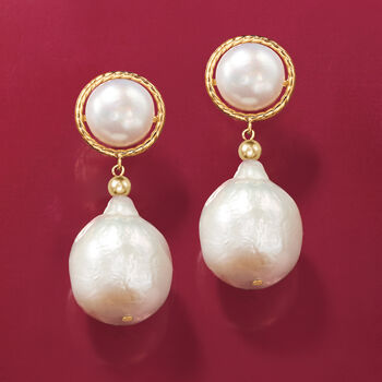 8.5-13mm Cultured Button and Baroque Pearl Drop Earrings in 14kt Yellow Gold, , default
