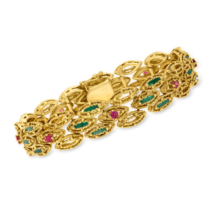 C. 1970 Vintage .75 ct. t.w. Ruby and Green Enamel Bracelet in 14kt Yellow Gold