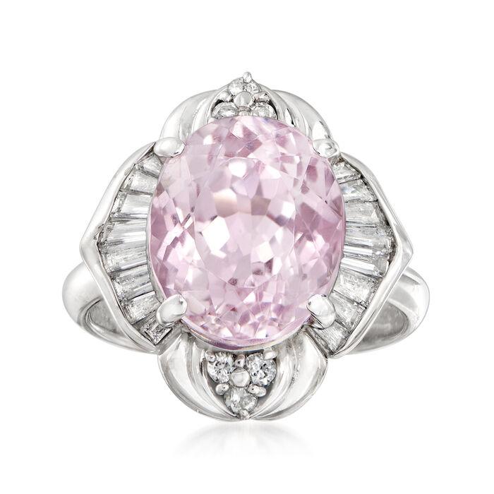 C. 1980 Vintage 6.50 Carat Pink Kunzite and .71 ct. t.w. Diamond Ring in Platinum. Size 6