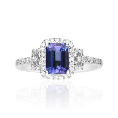 1.00 Carat Tanzanite and .18 ct. t.w. Diamond Ring in 14kt White Gold