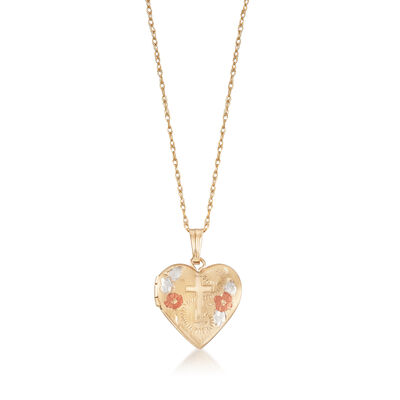 Child's 14kt Tri-Colored Gold Floral Cross Heart Locket Necklace, , default