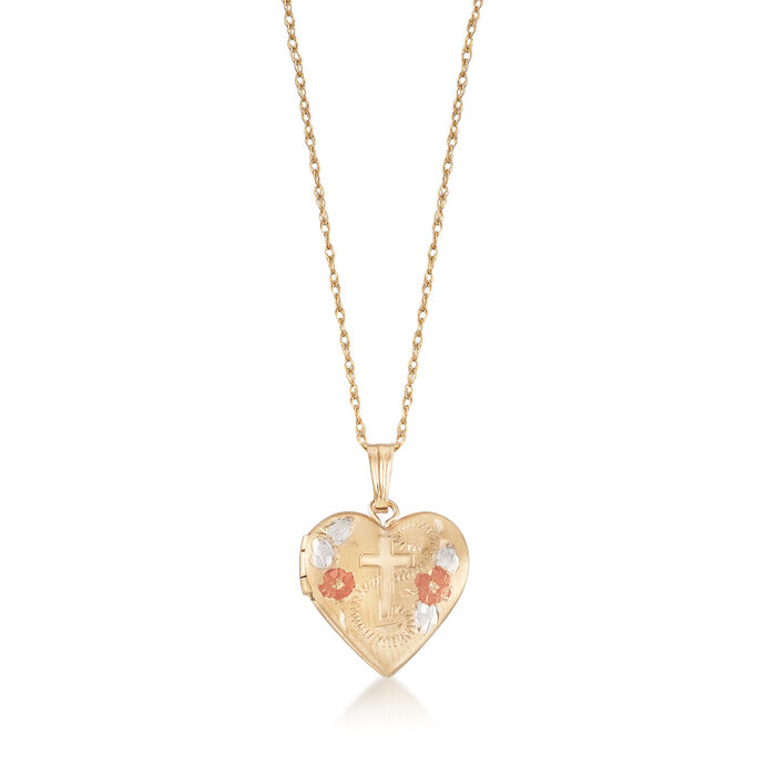 "Child's 14kt Tri-Colored Gold Floral Cross Heart Locket Necklace. 15"", , default"