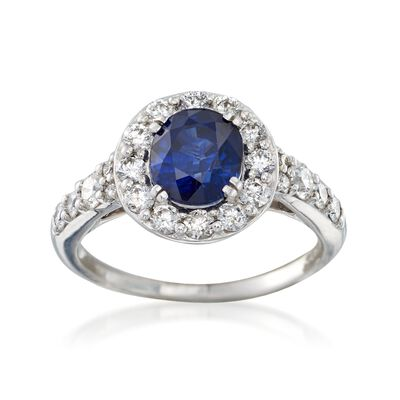 C. 2000 Vintage 1.58 Carat Sapphire and .70 ct. t.w. Diamond Ring in 14kt White Gold