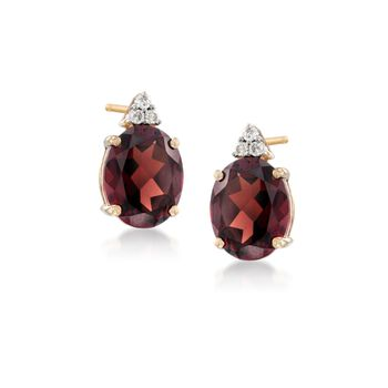 5.55 ct. t.w. Garnet and Diamond Earrings in 14kt Yellow Gold, , default