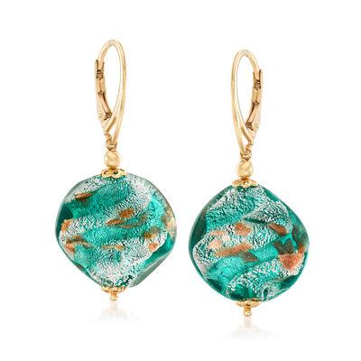 Italian Multicolored Murano Glass Bead Drop Earrings in 18kt Gold Over Sterling, , default