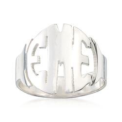 Sterling Silver Circular Block Monogram Ring, , default